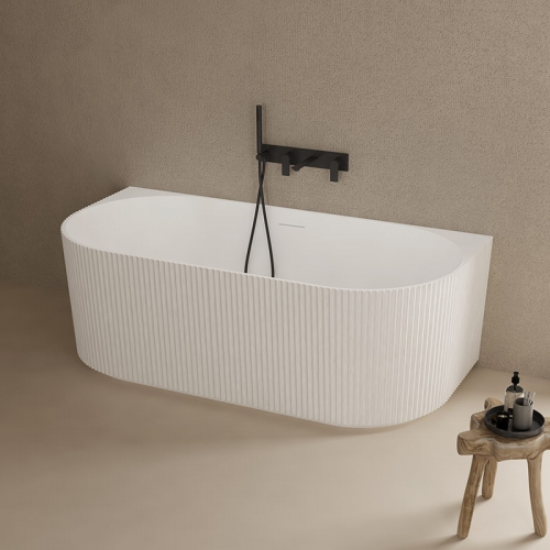 Top Rated Back To Wall Vertical line Freestanding Solid Surface Bathtub TW-8686