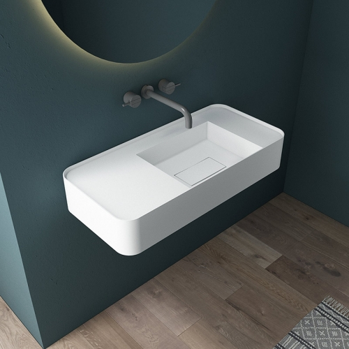 Wall-Mount Hung Artificial Stone Solid Surface Wash Basin Single Bathroom Sink TW-G823