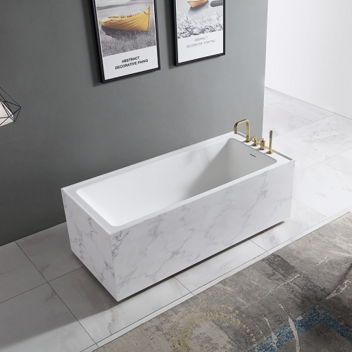 Rectangle Textured Stone Freestanding Artificial Stone Bathtub SW-6501