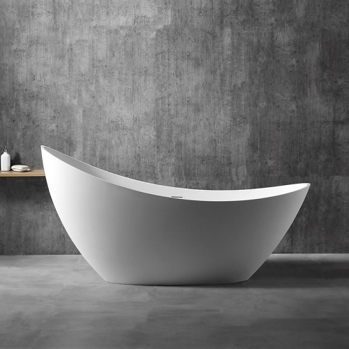 Oval Moon-Shaped Freestanding Stone Resin Bathtub XA-8816