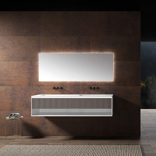 Double Under Counter Sinks Floating Bathroom Vanity Cabinet WBL-0016.