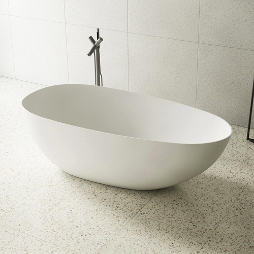 Oval Egg-Shaped Freestanding Artificial Stone Bathtub XA-8866