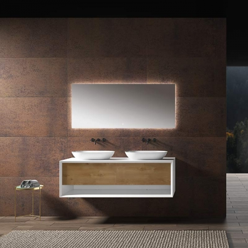 Hot Sale Double Under Counter Sinks Floating Bathroom Vanity Cabinet WBL-2210
