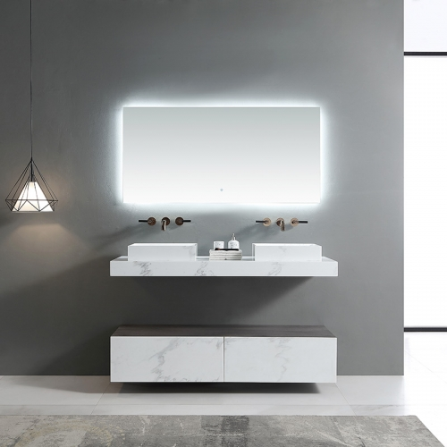 Double Counter Top Sink Floating Bathroom Vanity Cabinet SW-655A