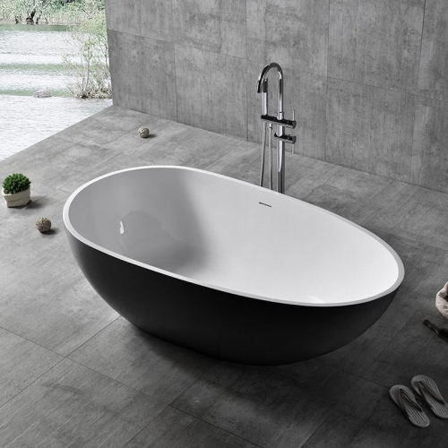 Colorful Oval Egg-Shaped Freestanding Artificial Stone Bathtub XA-8806