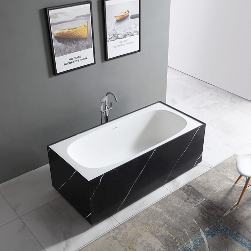 Colorful Rectangle Textured Stone Freestanding Artificial Stone Bathtub SW-6601