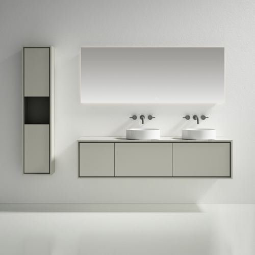 Double Counter Top Sink Wall Mounted Bathroom Cabinet WBL-0815