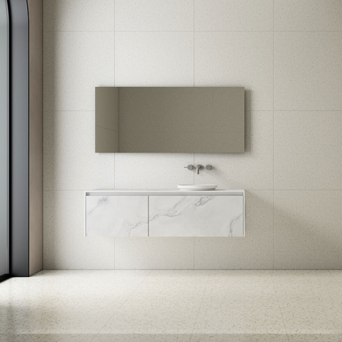 Single Counter Top Sink Wall Mounted Solid Surface Bathroom Cabinet TW-5813