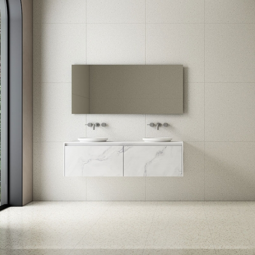 Double Counter Top Sink Wall Mounted Solid Surface Bathroom Cabinet TW-5812