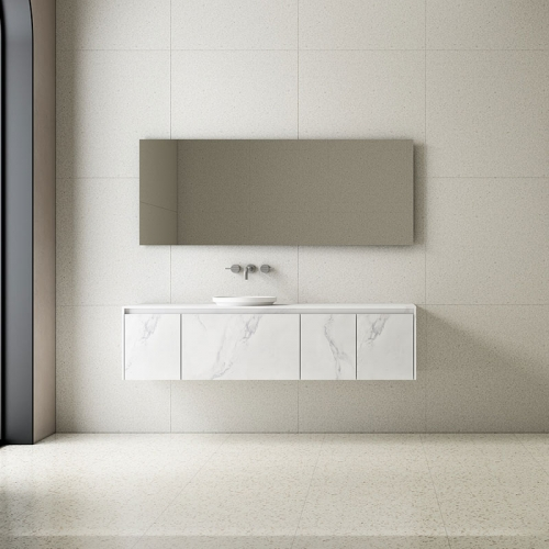 Single Counter Top Sink Wall Mounted Solid Surface Bathroom Cabinet TW-5816