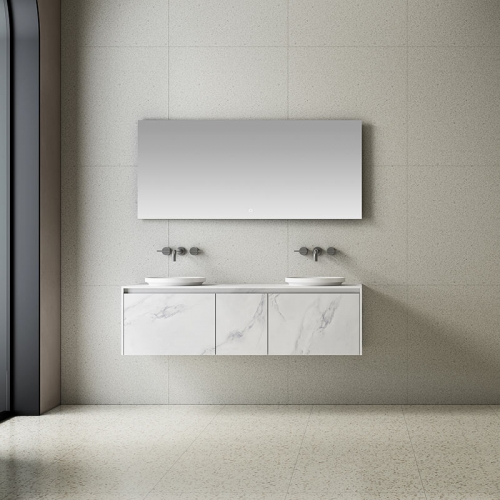 Double Counter Top Sink Wall Mounted Solid Surface Bathroom Cabinet TW-5818