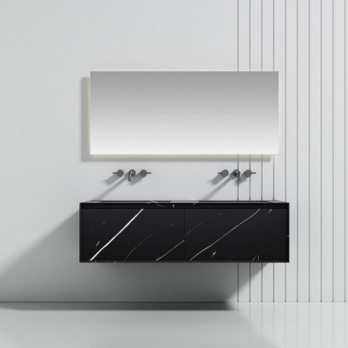 Double Under Counter Sink Floating Solid Surface Bathroom Cabinet TW-5502