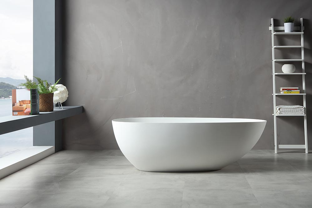 China Solid Surface Bathtub Manufacturer - T&W Oval Freestanding Bathtub XA-8866 Display