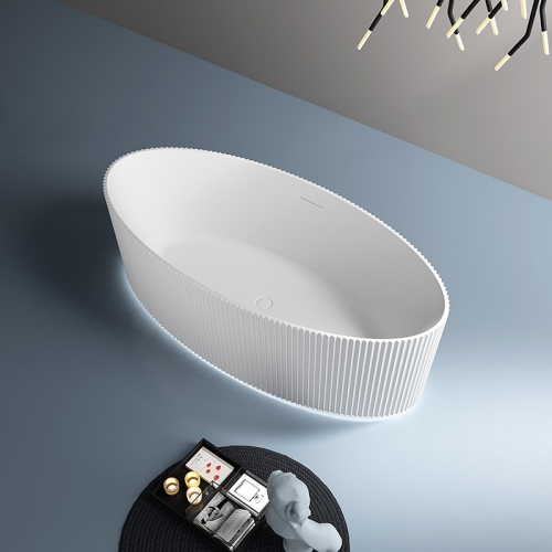 New Modern Design Oval Freestanding Vertical line Acrylic Bathtub With Lights TW-7687