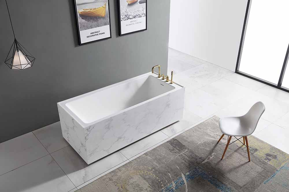 China Solid Surface Bathtub Supplier - T&W Rectangle Textured Stone Freestanding Artificial Stone Bathtub SW-6501 Display