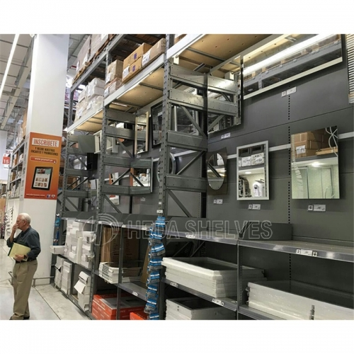Supermarket hypermarket heavy duty combined integrated storage display gondola shelving