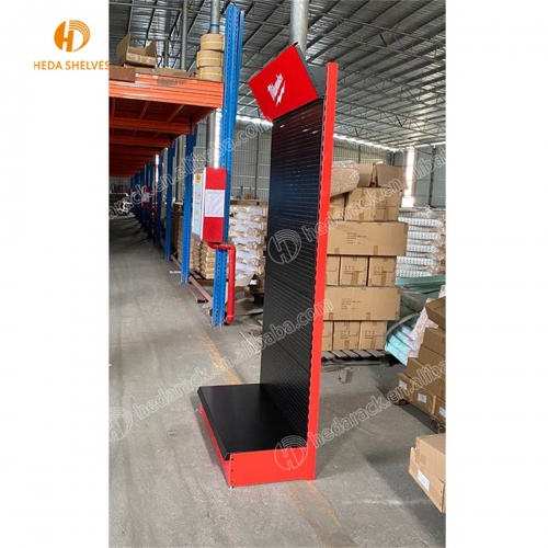 HEDA manufacture metal perforated panel board floor shelf display rack for tools