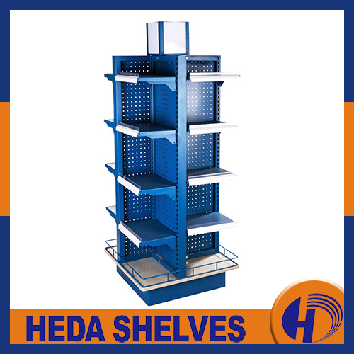 Four - sided supermarket display rack with wheels