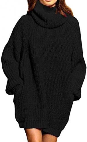 Women's Loose Oversized Ribbed Pocket Turtleneck Wool Long Pullover Sweater Dress