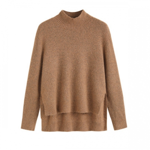 2020 autumn and winter women's new high-neck loose solid color thickened long-sleeved knitted cashmere sweater