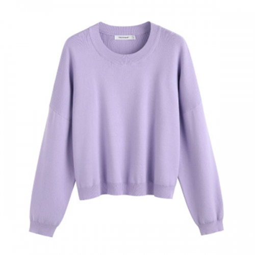 2020 autumn and winter women's new round neck pullover loose bottom solid color slim knitted cashmere sweater