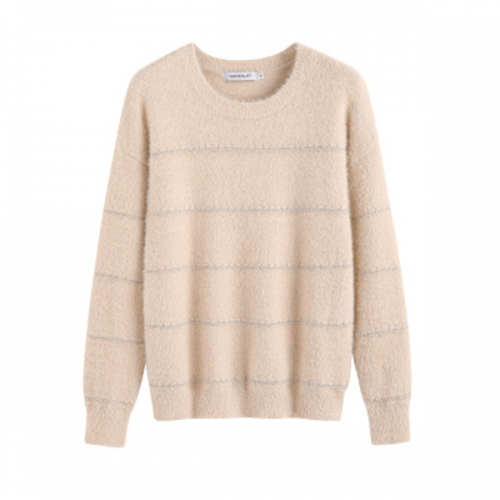 2020 women's autumn and winter new loose pullover striped imitation mink women long-sleeved solid color knitted sweater women