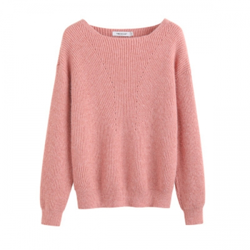 2020 autumn and winter women's new round neck loose top solid color slim long-sleeved rabbit fur knitted sweater