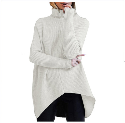 Lactic Womens Turtleneck Long Batwing Sleeve Asymmetric Hem Casual Pullover Sweater Knit Tops