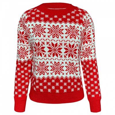 Christmas snowflake long sleeve knitted sweater