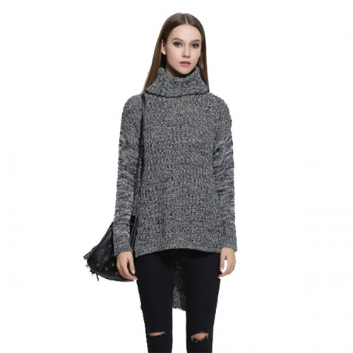 Women Long Sleeve Cowl Neck Sweater Casual Loose Knitted Pullover Jumper Tops