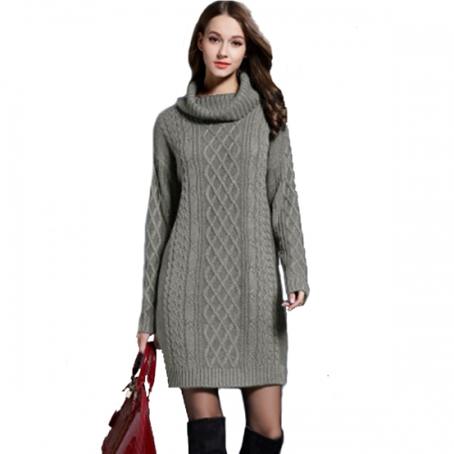 Women's Long Sleeve Turtleneck Knit Thick Cable Pullover Sweater Dress