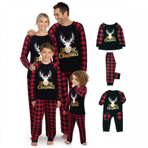 Matching Family Christmas Pajamas Women Men Plaid Deer Sleepwear Boys Girls Elk Clothes Pjs
