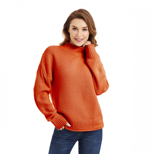 Lactic Womens Turtleneck Knit Oversized Sweaters Long Sleeve Pullover Loose Chunky Sweaters Jumper Outerwear, 100% Acrylic