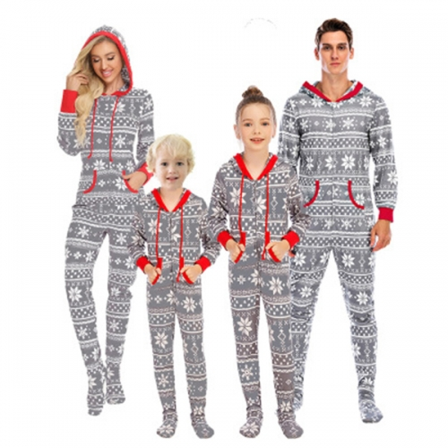 Matching Family Christmas Pajama Set Zipper Front Hooded Footed One-Piece Pjs Loungewear Sleepwear S-XXL