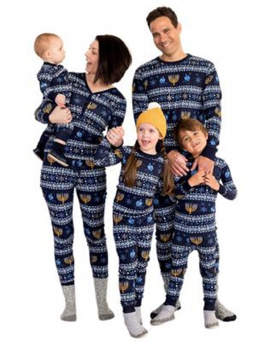 Family Matching Pajamas Sets Christmas Festival Sleepwear Printed for Mom Dad Child Pjs Long-Sleeved New Parent-Child Suits Home Wear,Blue