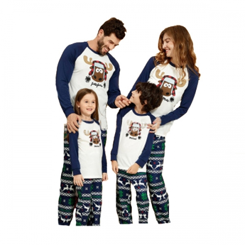 Family Matching Pajamas Set Parent-Kid Sleepwear Xmas Deer Tee Red Plaid Bottom Dad Mom Children Pjs