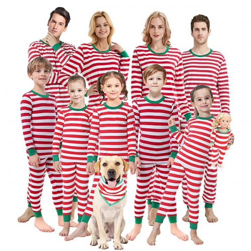 Matching Family Pajamas Christmas Boys and Girls Red Striped Jam Baby Costumes Mom and Me Pjs Ladies Men