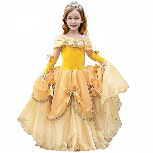 Deluxe Princess Costumes Little Girls Dress Kids Fancy Gown Cosplay Halloween Party
