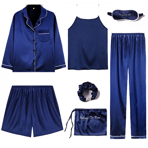 Woman pajama set Cami Pjs belt Shirt and eye mask