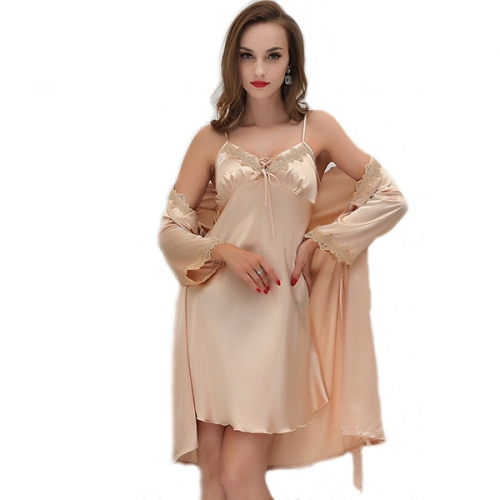 Valentine's Day Woman Sexy Silk Satin Robe Sling Pajama Dress