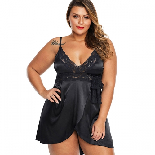 Plus size sexy nightdress home service female sexy V-neck sling lace fat sister pajamas suit