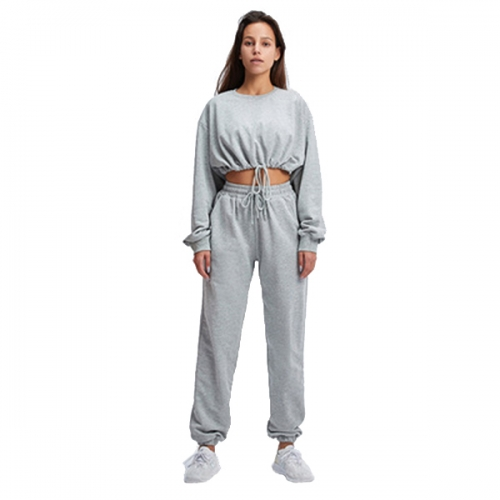 2021 Fitness Sports Sweatshirt Set Loose Short Top Casual Hong Kong Style Belly Button Long Sleeve Two Piece Set