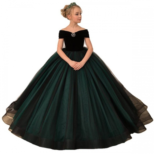 Flower girl catwalk evening dress model one-shoulder piano first season gold velvet dress