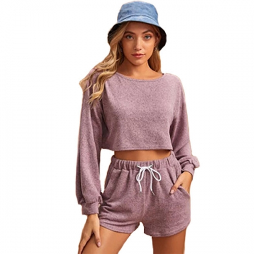 2021 hot-selling women's European and American solid color round neck long-sleeved drawstring short two-piece casual sweater