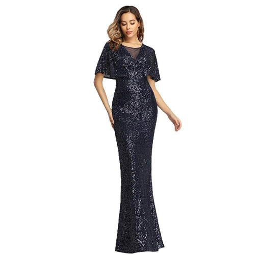 2021 spring hot sale new European and American sequined fishtail slim banquet evening dress women