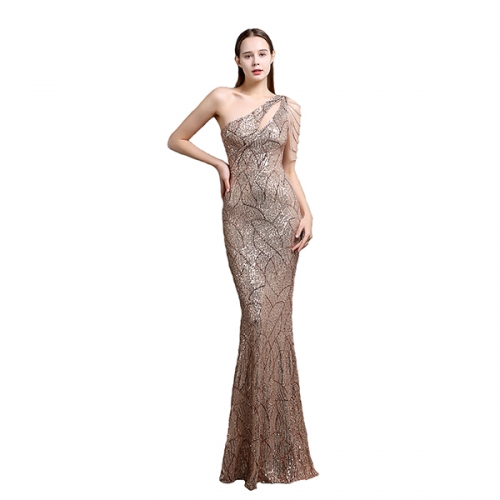 Sequins Fashion Sleeveless Oblique Collar Mermaid Women's Maxi Dress Bodycon Dress Party Dress