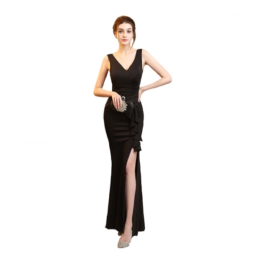 Women's Retro High Neck Split Formal Evening Party Maxi Dress