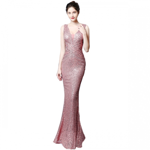 Women's evening dress 2021 new banquet elegant and thin sequined mermaid dress