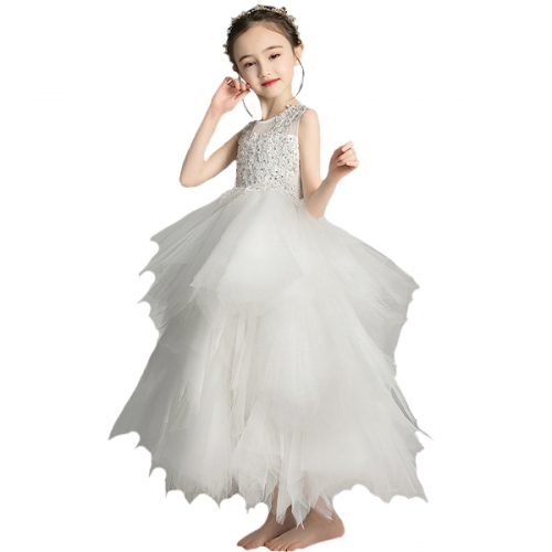 Floral lace girl dress lace back skirt first communion dress ball dress