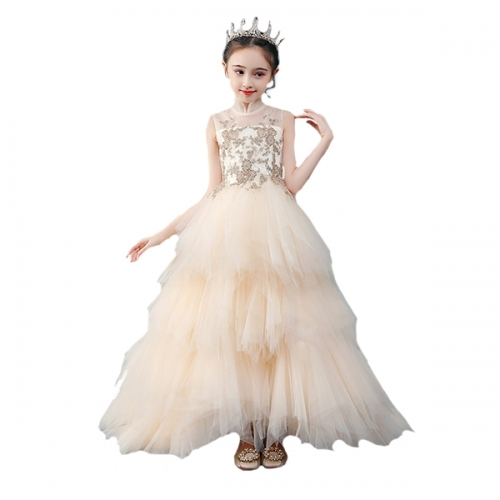 Flower girl lace dress princess pageant wedding birthday formal party first communion ball dress